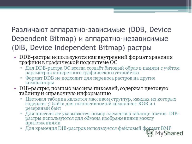 Различают аппаратно-зависимые (DDB, Device Dependent Bitmap) и аппаратно-независимые (DIB, Device Independent Bitmap) растры DDB-растры используются как внутренний формат хранения графики в графической подсистеме ОС Для DDB-растра ОС всегда создаёт б