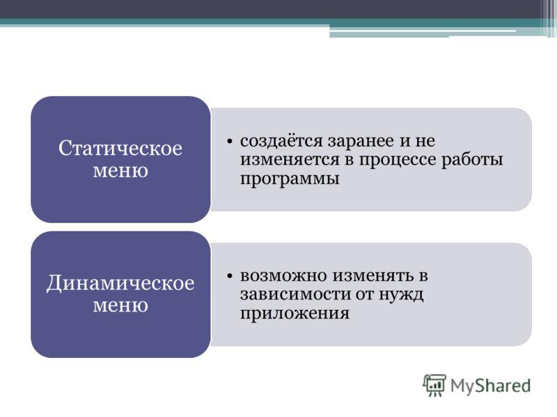 создаётся заранее и не изменяется в процессе работы программы Статическое меню возможно изменять в зависимости от нужд приложения Динамическое меню