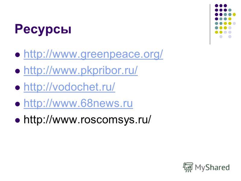 Ресурсы http://www.greenpeace.org/ http://www.pkpribor.ru/ http://vodochet.ru/ http://www.68news.ru http://www.roscomsys.ru/