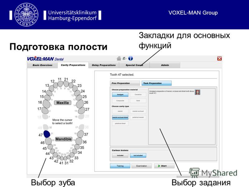 VOXEL-MAN Group Подготовка полости Выбор зубаВыбор задания Закладки для основных функций
