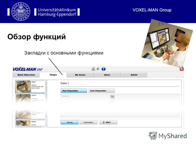 VOXEL-MAN Group Обзор функций Закладки с основными функциями