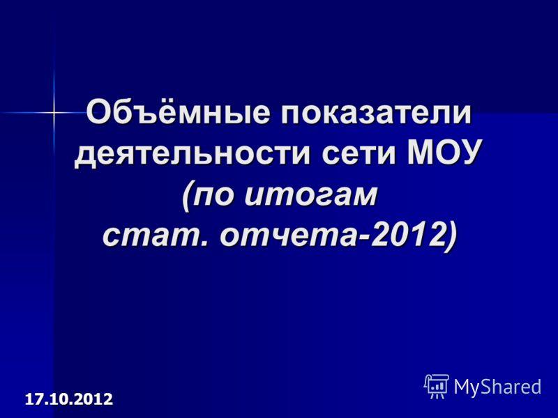 Объёмные показатели деятельности сети МОУ (по итогам стат. отчета-2012) 17.10.2012