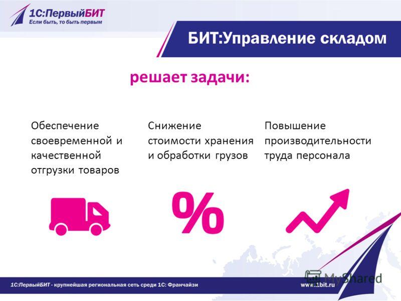 решает задачи: Обеспечение своевременной и качественной отгрузки товаров Снижение стоимости хранения и обработки грузов Повышение производительности труда персонала