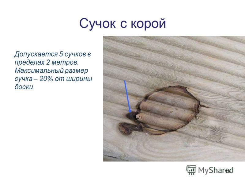 16 Сучок с корой Допускается 5 сучков в пределах 2 метров. Максимальный размер сучка – 20% от ширины доски.