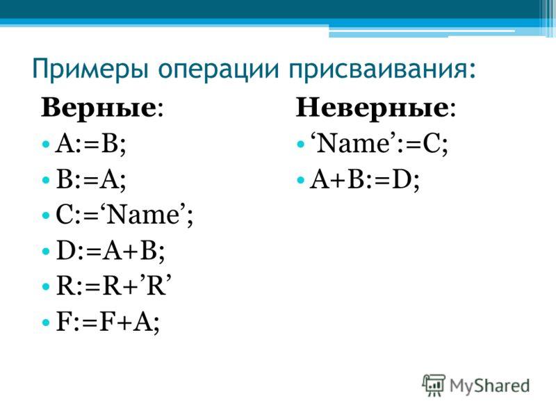 Примеры операции присваивания: Верные: A:=B; B:=A; C:=Name; D:=A+B; R:=R+R F:=F+A; Неверные: Name:=C; A+B:=D;