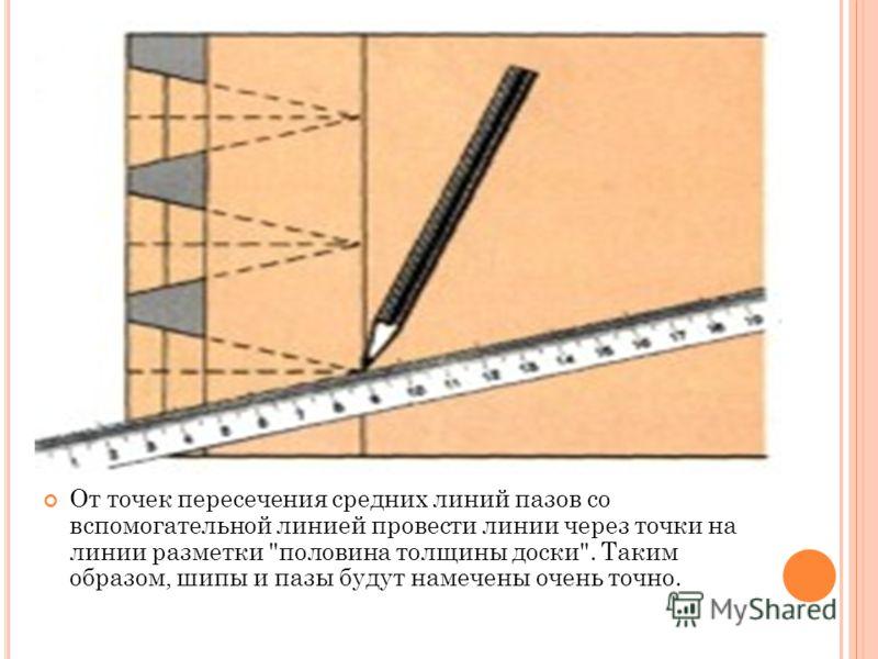 От точек пересечения средних линий пазов со вспомогательной линией провести линии через точки на линии разметки половина толщины доски. Таким образом, шипы и пазы будут намечены очень точно.