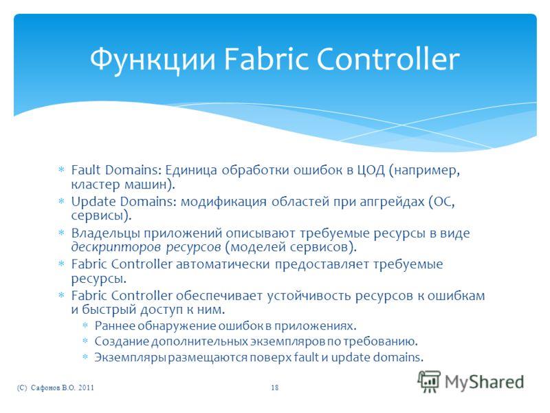 Функции Fabric Controller Fault Domains: Единица обработки ошибок в ЦОД (например, кластер машин). Update Domains: модификация областей при апгрейдах (ОС, сервисы). Владельцы приложений описывают требуемые ресурсы в виде дескрипторов ресурсов (моделе