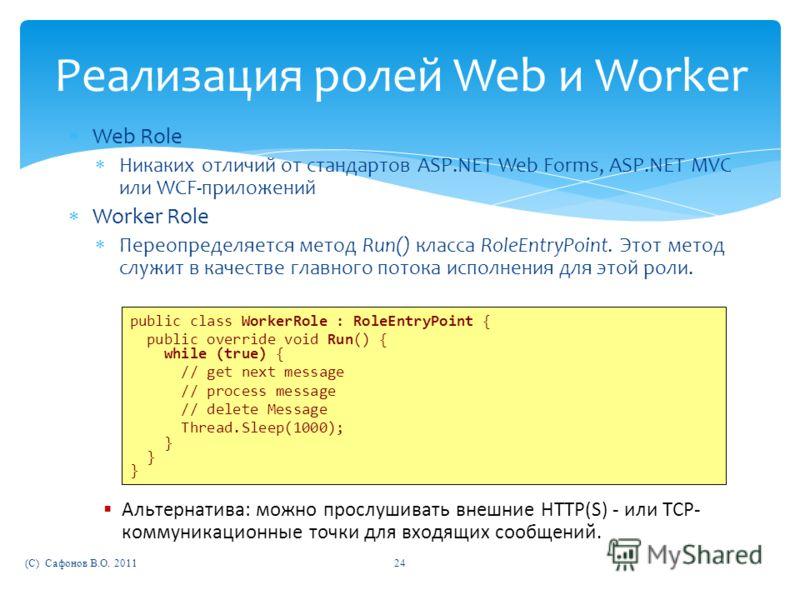 Реализация ролей Web и Worker Web Role Никаких отличий от стандартов ASP.NET Web Forms, ASP.NET MVC или WCF-приложений Worker Role Переопределяется метод Run() класса RoleEntryPoint. Этот метод служит в качестве главного потока исполнения для этой ро