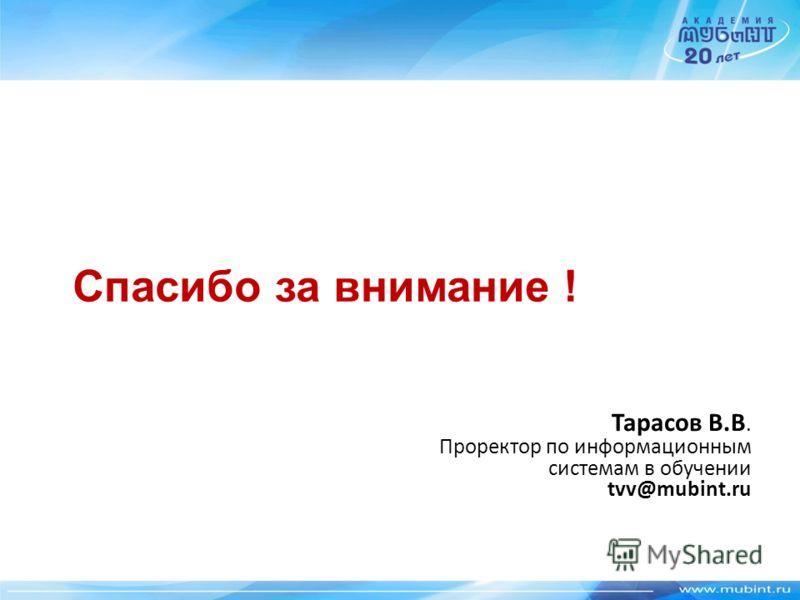 Спасибо за внимание ! Тарасов В.В. Проректор по информационным системам в обучении tvv@mubint.ru