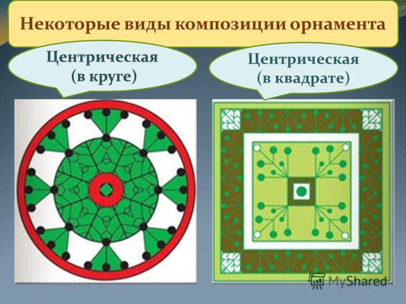 Некоторые виды композиции орнамента Центрическая (в квадрате)