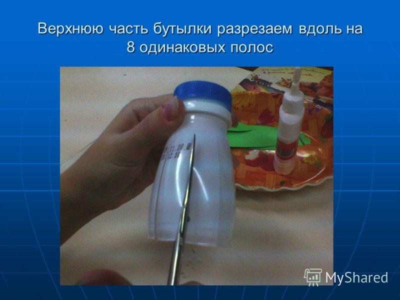 Верхнюю часть бутылки разрезаем вдоль на 8 одинаковых полос