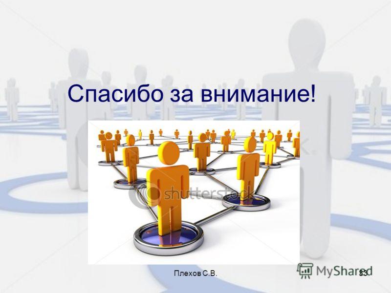 Плехов С.В.33 Спасибо за внимание!