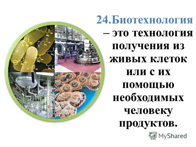 24.Биотехнология – это технология получения из живых клеток или с их помощью необходимых человеку продуктов.