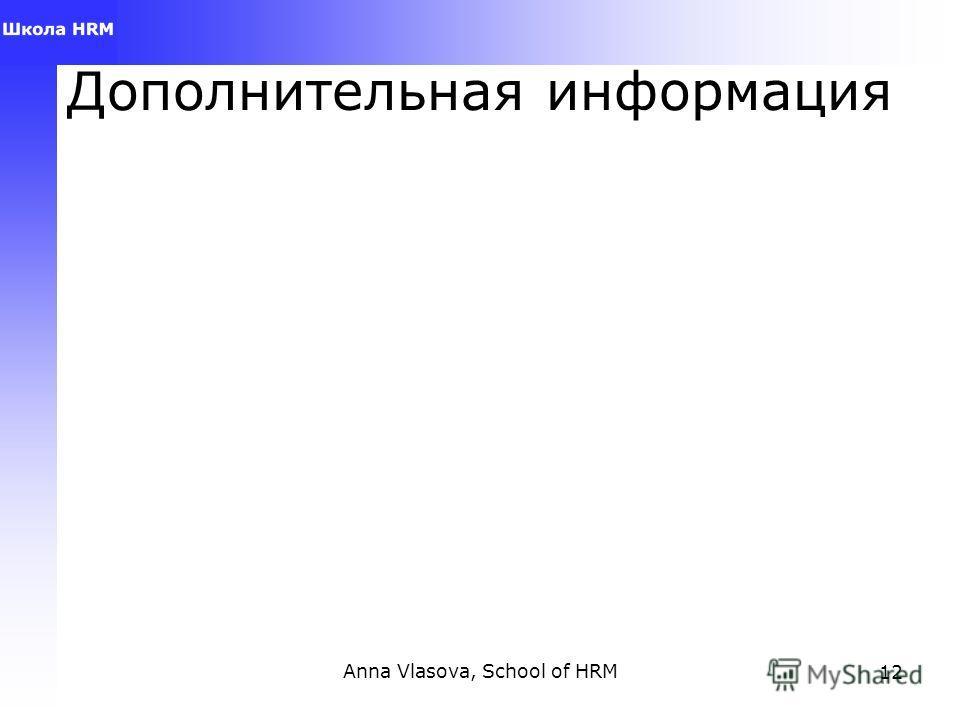 Anna Vlasova, School of HRM12 Дополнительная информация