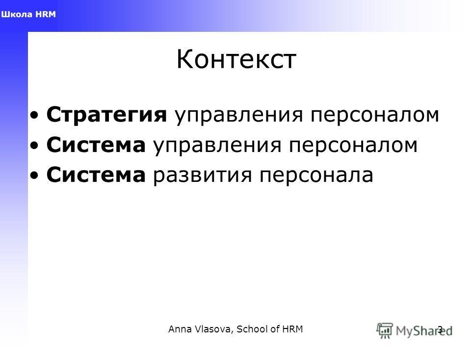 Anna Vlasova, School of HRM3 Контекст Стратегия управления персоналом Система управления персоналом Система развития персонала