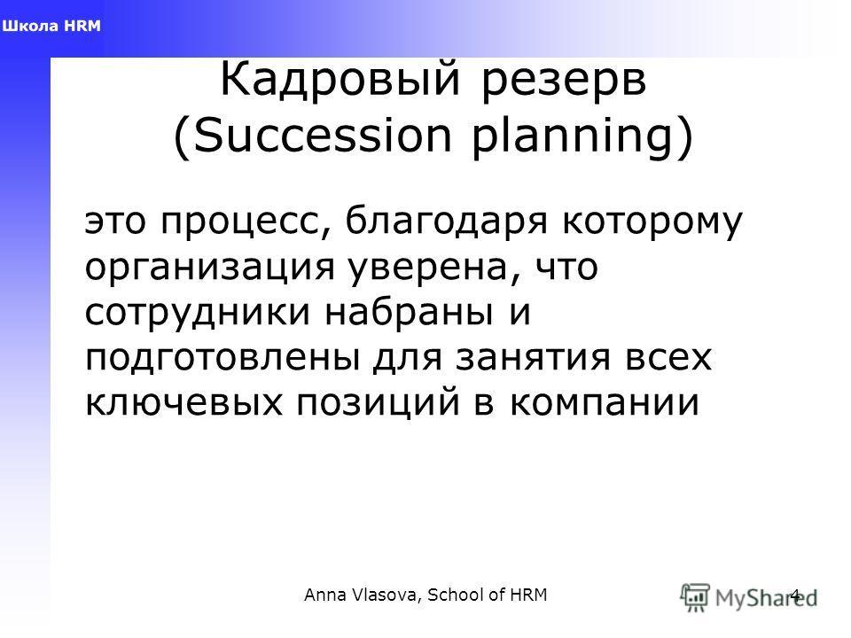 Anna Vlasova, School of HRM4 Кадровый резерв (Succession planning) это процесс, благодаря которому организация уверена, что сотрудники набраны и подготовлены для занятия всех ключевых позиций в компании