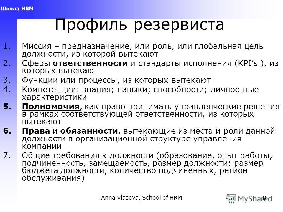 Anna Vlasova, School of HRM8 Профиль резервиста 1. Миссия – предназначение, или роль, или глобальная цель доджности, из которой вытекают 2. Сферы ответственности и стандарты исполнения (KPIs ), из которых вытекают 3. Функции или процессы, из которых