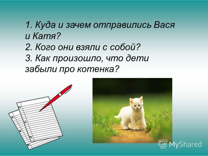 1. Куда и зачем отправились Вася и Катя? 2. Кого они взяли с собой? 3. Как произошло, что дети забыли про котенка?