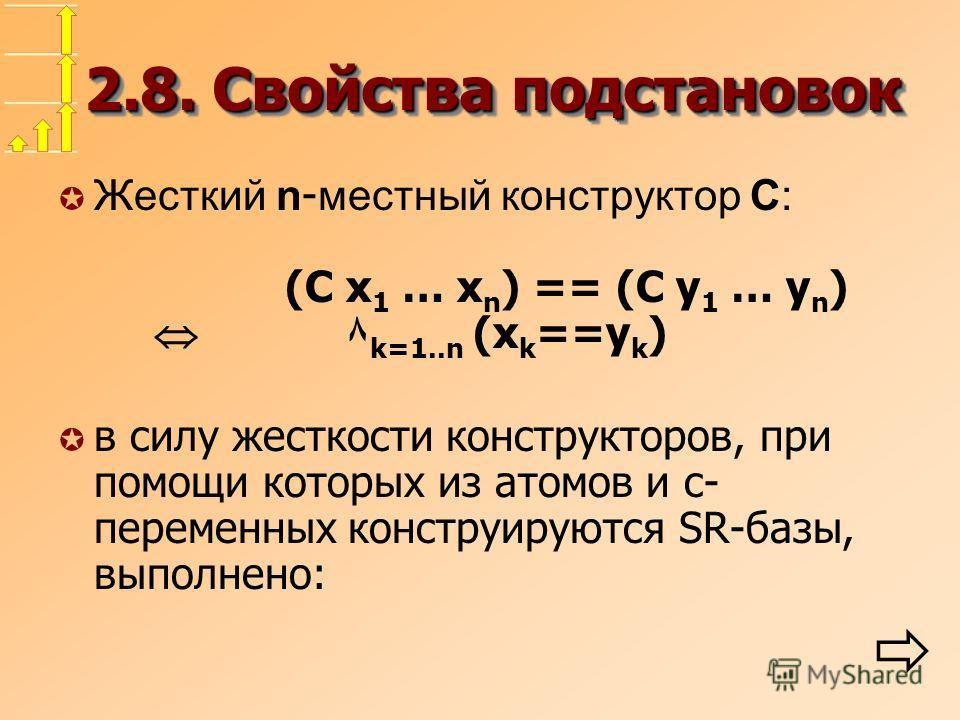 2.8. Свойства подстановок Жесткий n - местный конструктор C: (C x 1 … x n ) == (C y 1 … y n ) ۸ k=1..n (x k ==y k ) µ в силу жесткости конструкторов, при помощи которых из атомов и c- переменных конструируются SR-базы, выполнено: