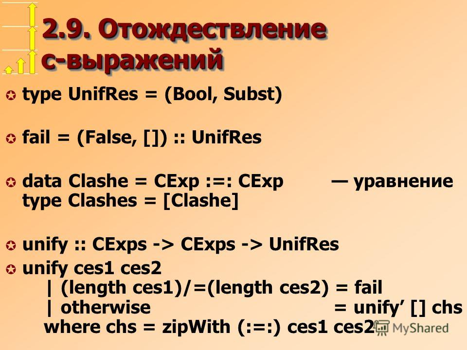 2.9. Отождествление c-выражений µ type UnifRes = (Bool, Subst) µ fail = (False, []) :: UnifRes µ data Clashe = CExp :=: CExp уравнение type Clashes = [Clashe] µ unify :: CExps -> CExps -> UnifRes µ unify ces1 ces2 | (length ces1)/=(length ces2) = fai