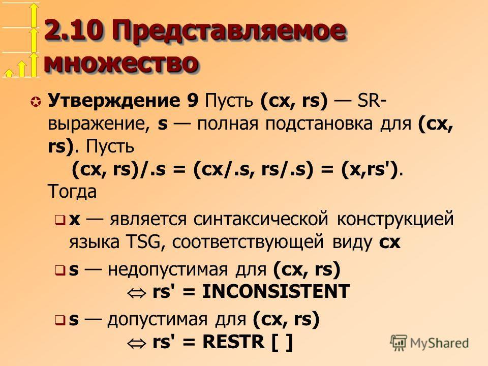 2.10 Представляемое множество µ Утверждение 9 Пусть (cx, rs) SR- выражение, s полная подстановка для (cx, rs). Пусть (cx, rs)/.s = (cx/.s, rs/.s) = (x,rs'). Тогда x является синтаксической конструкцией языка TSG, соответствующей виду cx s недопустима