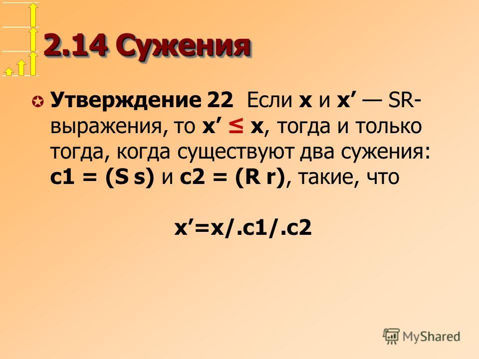 2.14 Сужения µ Утверждение 22 Если x и x SR- выражения, то x x, тогда и только тогда, когда существуют два сужения: c1 = (S s) и c2 = (R r), такие, что x=x/.c1/.c2