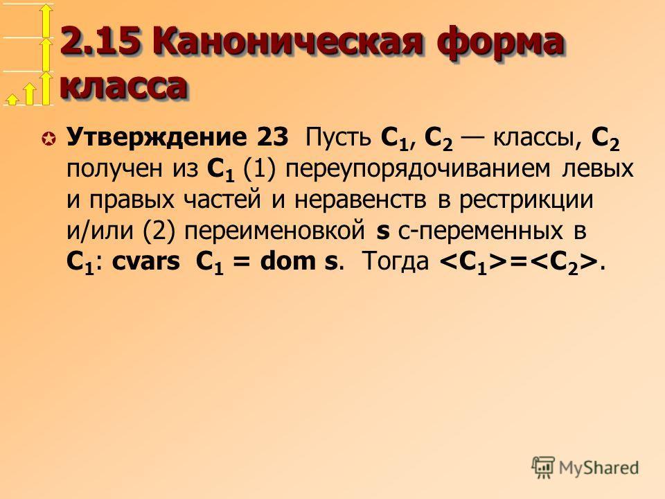 2.15 Каноническая форма класса µ Утверждение 23 Пусть С 1, С 2 классы, С 2 получен из С 1 (1) переупорядочиванием левых и правых частей и неравенств в рестрикции и/или (2) переименовкой s с-переменных в С 1 : cvars С 1 = dom s. Тогда =.