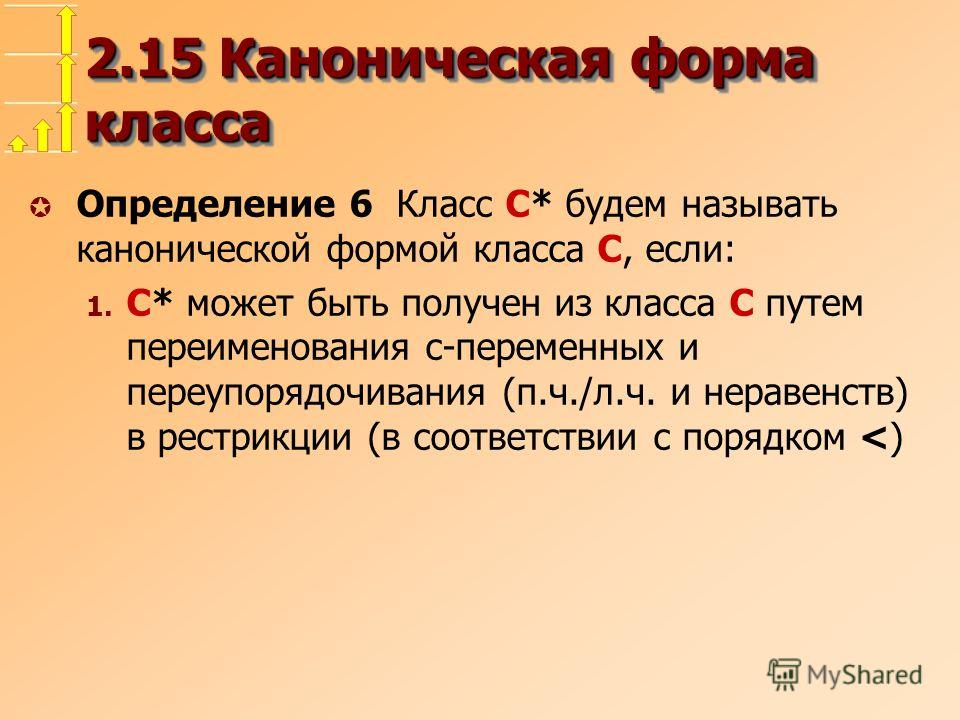 2.15 Каноническая форма класса µ Определение 6 Класс C* будем называть канонической формой класса C, если: 1. C* может быть получен из класса C путем переименования c-переменных и переупорядочивания (п.ч./л.ч. и неравенств) в рестрикции (в соответств