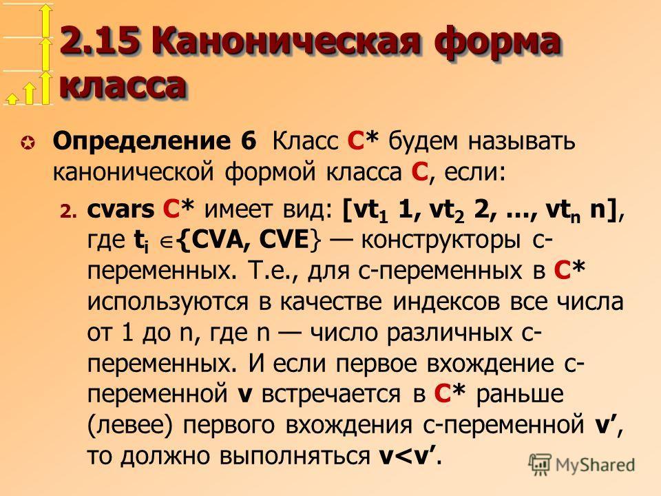 2.15 Каноническая форма класса µ Определение 6 Класс C* будем называть канонической формой класса C, если: 2. cvars C* имеет вид: [vt 1 1, vt 2 2,..., vt n n], где t i {CVA, CVE} конструкторы c- переменных. Т.е., для c-переменных в C* используются в