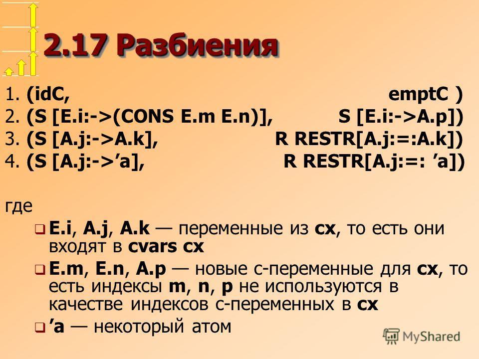 2.17 Разбиения 1. (idC, emptC ) 2. (S [E.i:->(CONS E.m E.n)], S [E.i:->A.p]) 3. (S [A.j:->A.k], R RESTR[A.j:=:A.k]) 4. (S [A.j:->a], R RESTR[A.j:=: a]) где E.i, A.j, A.k переменные из cx, то есть они входят в cvars cx E.m, E.n, A.p новые c-переменные