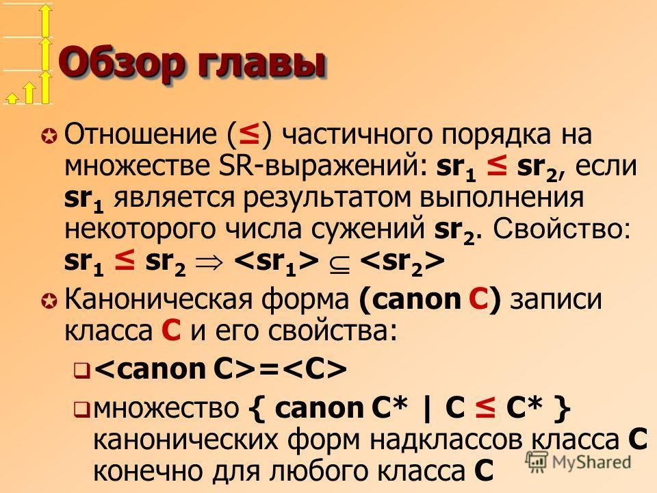 Обзор главы Отношение () частичного порядка на множестве SR-выражений: sr 1 sr 2, если sr 1 является результатом выполнения некоторого числа сужений sr 2. Свойство: sr 1 sr 2 µ Каноническая форма (canon C) записи класса C и его свойства: = множество