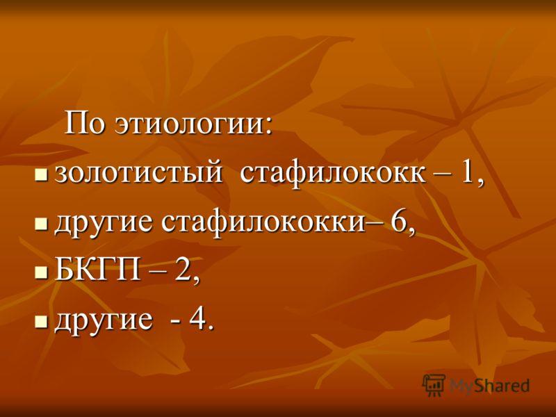 По этиологии: По этиологии: золотистый стафилококк – 1, золотистый стафилококк – 1, другие стафилококки– 6, другие стафилококки– 6, БКГП – 2, БКГП – 2, другие - 4. другие - 4.
