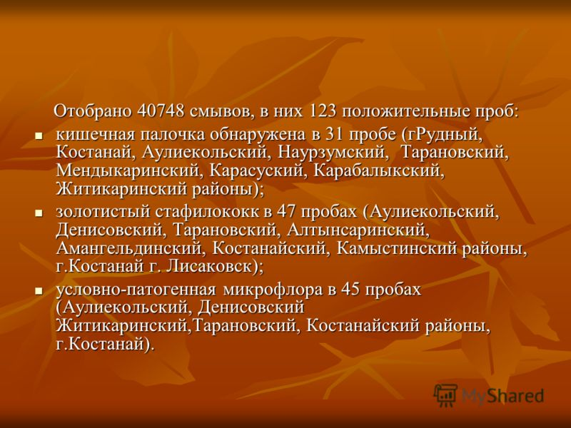 Отобрано 40748 смывов, в них 123 положительные проб: Отобрано 40748 смывов, в них 123 положительные проб: кишечная палочка обнаружена в 31 пробе (гРудный, Костанай, Аулиекольский, Наурзумский, Тарановский, Мендыкаринский, Карасуский, Карабалыкский, Ж