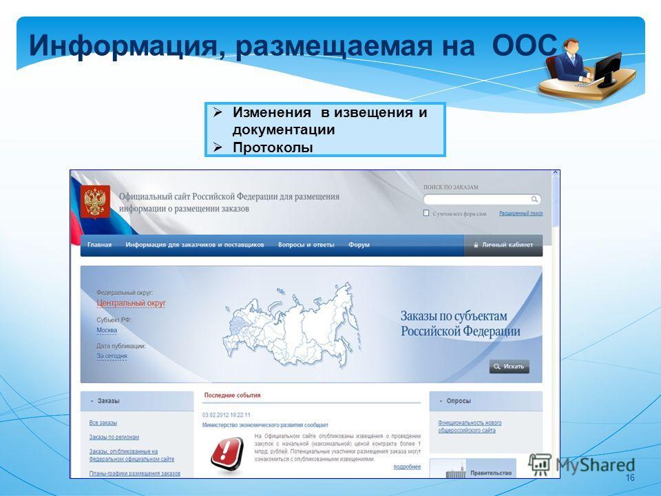 Информация, размещаемая на ООС Изменения в извещения и документации Протоколы 16