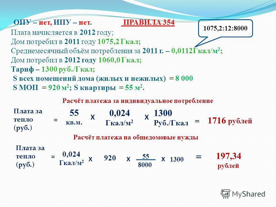 ОПУ – нет, ИПУ – нет. ПРАВИЛА 354 Плата начисляется в 2012 году; Дом потребил в 2011 году 1075,2 Гкал; Среднемесячный объём потребления за 2011 г. – 0,0112Гкал/м 2 ; Дом потребил в 2012 году 1060,0 Гкал; Тариф – 1300 руб./Гкал; S всех помещений дома