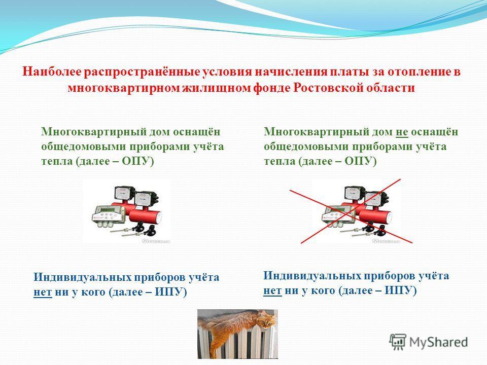 Наиболее распространённые условия начисления платы за отопление в многоквартирном жилищном фонде Ростовской области Многоквартирный дом оснащён общедомовыми приборами учёта тепла (далее – ОПУ) Многоквартирный дом не оснащён общедомовыми приборами учё