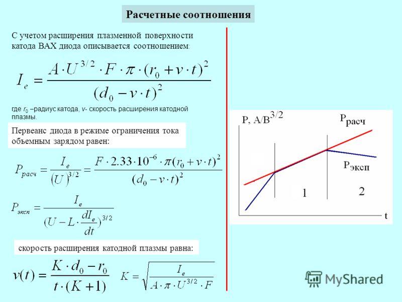 Расчетные соотношения С учетом расширения плазменной поверхности катода ВАХ диода описывается соотношением : где r 0 –радиус катода, v- скорость расширения катодной плазмы. Первеанс диода в режиме ограничения тока объемным зарядом равен: скорость рас