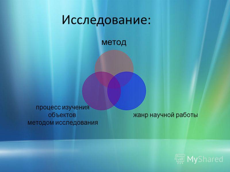 Исследование: метод жанр научной работы процесс изучения объектов методом исследования