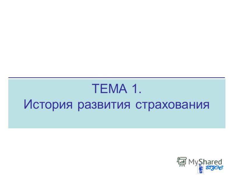 ТЕМА 1. История развития страхования
