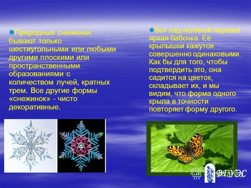 Природные снежинки бывают только шестиугольными или любыми другими плоскими или пространственными образованиями с количеством лучей, кратных трем. Все другие формы «снежинок» - чисто декоративные. Вот над поляной порхает яркая бабочка. Ее крылышки ка