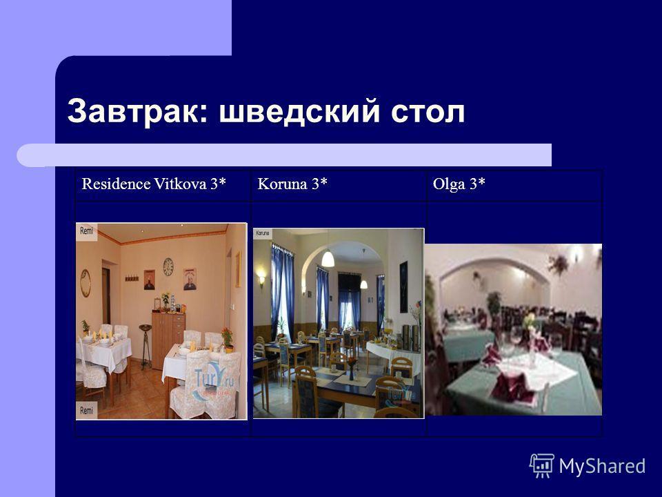 Завтрак: шведский стол Residence Vitkova 3*Koruna 3*Olga 3*