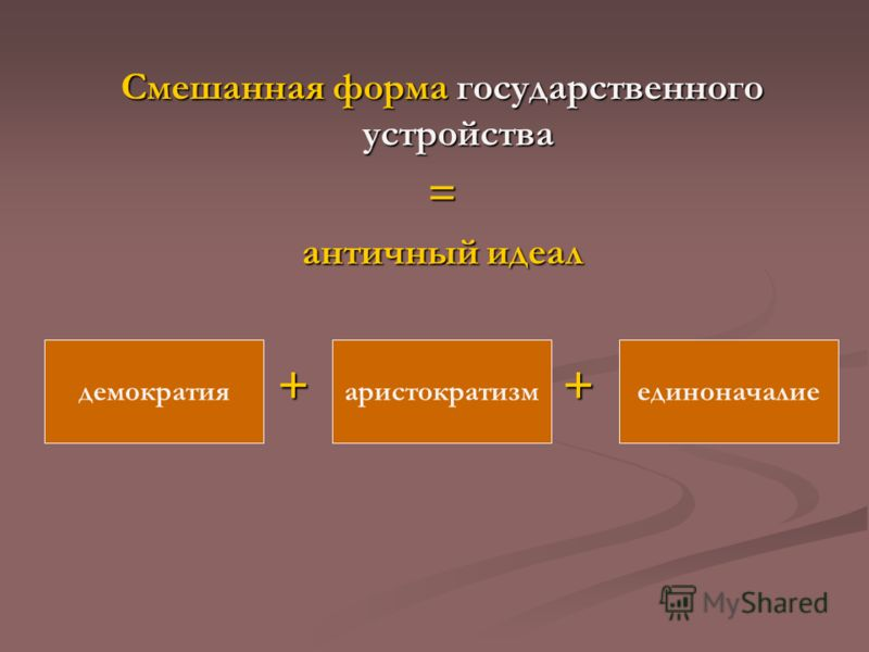 Смешанная форма государственного устройства = античный идеал + + демократияаристократизмединоначалие