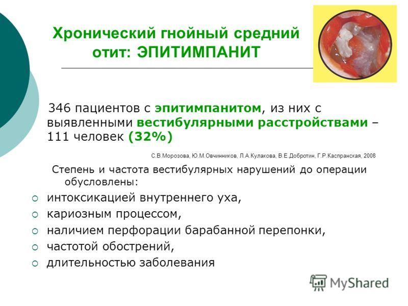 Хронический гнойный средний отит: ЭПИТИМПАНИТ 346 пациентов с эпитимпанитом, из них с выявленными вестибулярными расстройствами – 111 человек (32%) С.В.Морозова, Ю.М.Овчинников, Л.А.Кулакова, В.Е.Добротин, Г.Р.Каспранская, 2008 Степень и частота вест