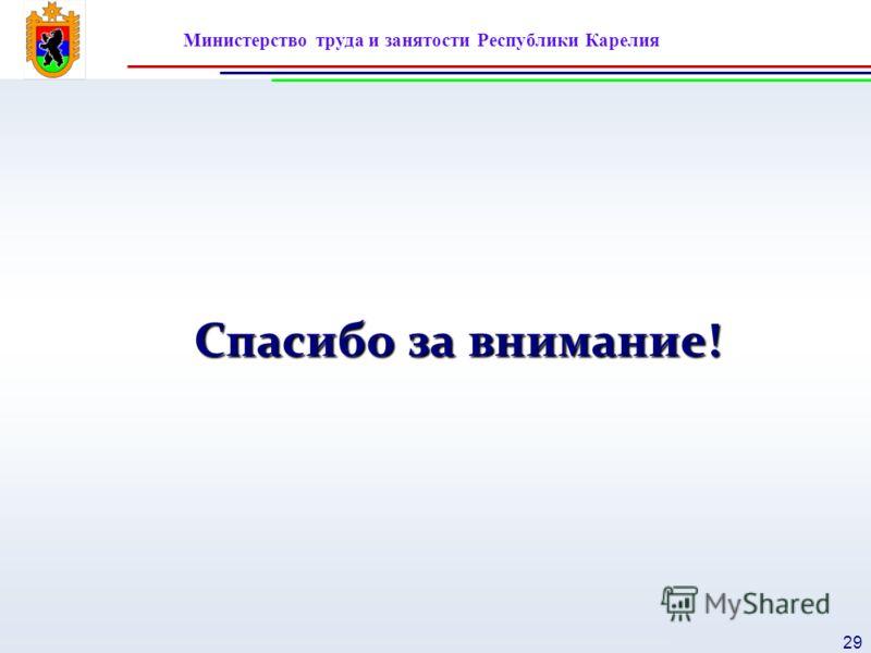 Министерство труда и занятости Республики Карелия 29 Спасибо за внимание!