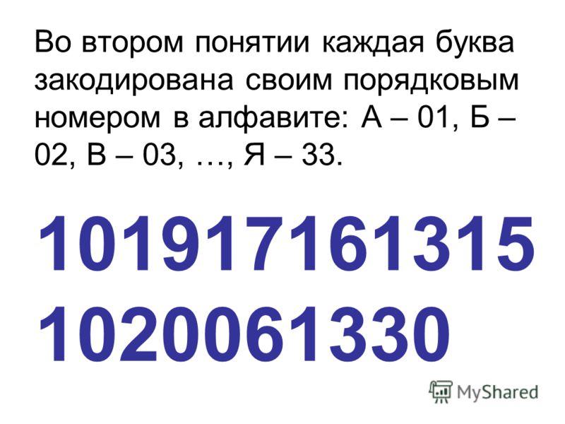 Во втором понятии каждая буква закодирована своим порядковым номером в алфавите: А – 01, Б – 02, В – 03, …, Я – 33. 101917161315 1020061330