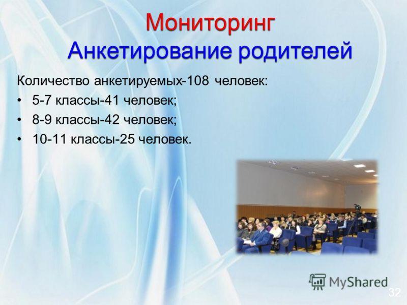 Количество анкетируемых-108 человек: 5-7 классы-41 человек; 8-9 классы-42 человек; 10-11 классы-25 человек. 32