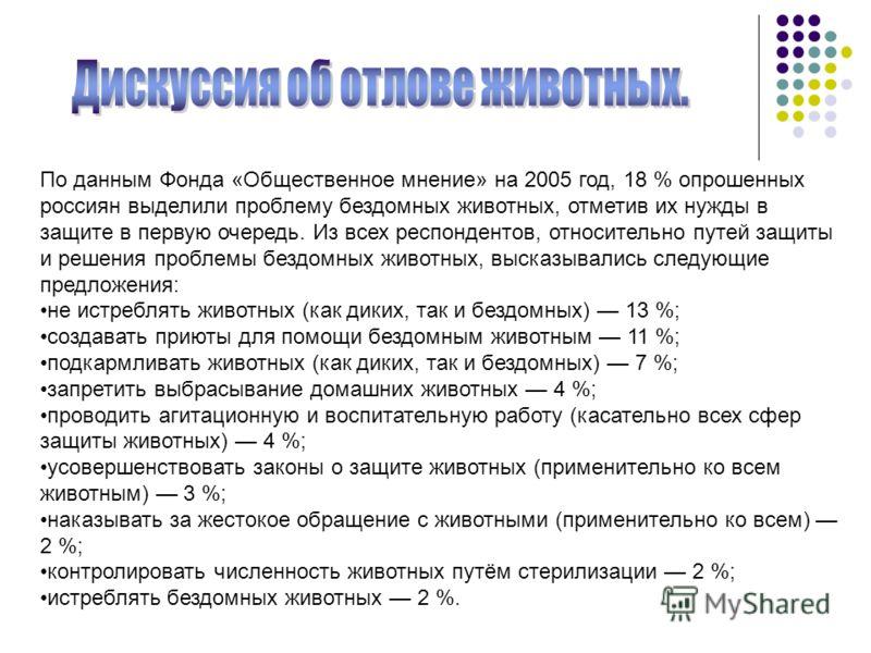 По данным Фонда «Общественное мнение» на 2005 год, 18 % опрошенных россиян выделили проблему бездомных животных, отметив их нужды в защите в первую очередь. Из всех респондентов, относительно путей защиты и решения проблемы бездомных животных, высказ