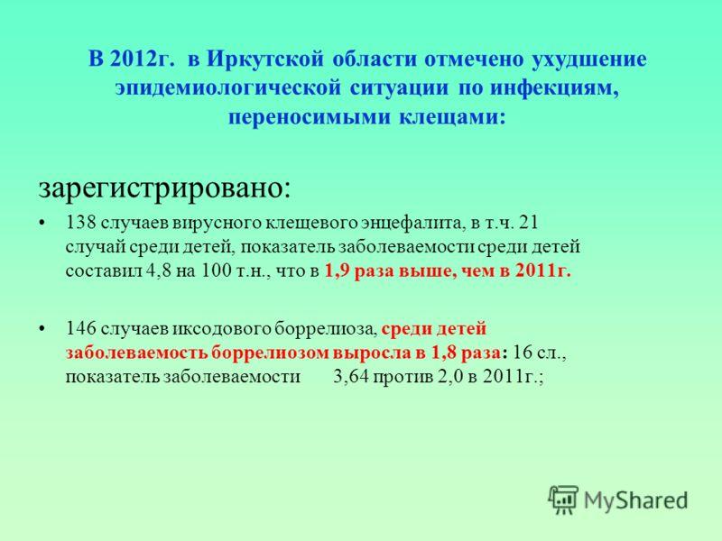 В 2012г. в Иркутской области отмечено ухудшение эпидемиологической ситуации по инфекциям, переносимыми клещами: зарегистрировано: 138 случаев вирусного клещевого энцефалита, в т.ч. 21 случай среди детей, показатель заболеваемости среди детей составил
