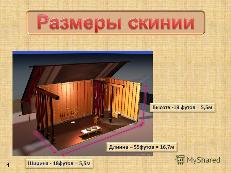Ширина - 18футов = 5,5м Высота -18 футов = 5,5м Длинна – 55футов = 16,7м 4