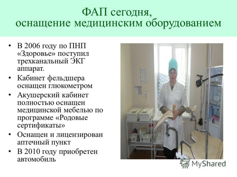 В 2006 году по ПНП «Здоровье» поступил трехканальный ЭКГ аппарат. Кабинет фельдшера оснащен глюкометром Акушерский кабинет полностью оснащен медицинской мебелью по программе «Родовые сертификаты» Оснащен и лицензирован аптечный пункт В 2010 году прио